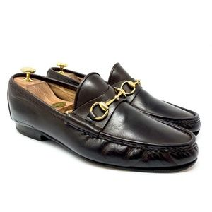 GUCCI Brown Leather Gold Horsebit Luxury Loafer